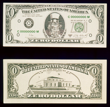 "dollar bill art. these ""zero dollar"" ills"